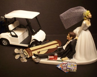 NO GOLF with Cart Bride and Groom Wedding Cake Topper Funny