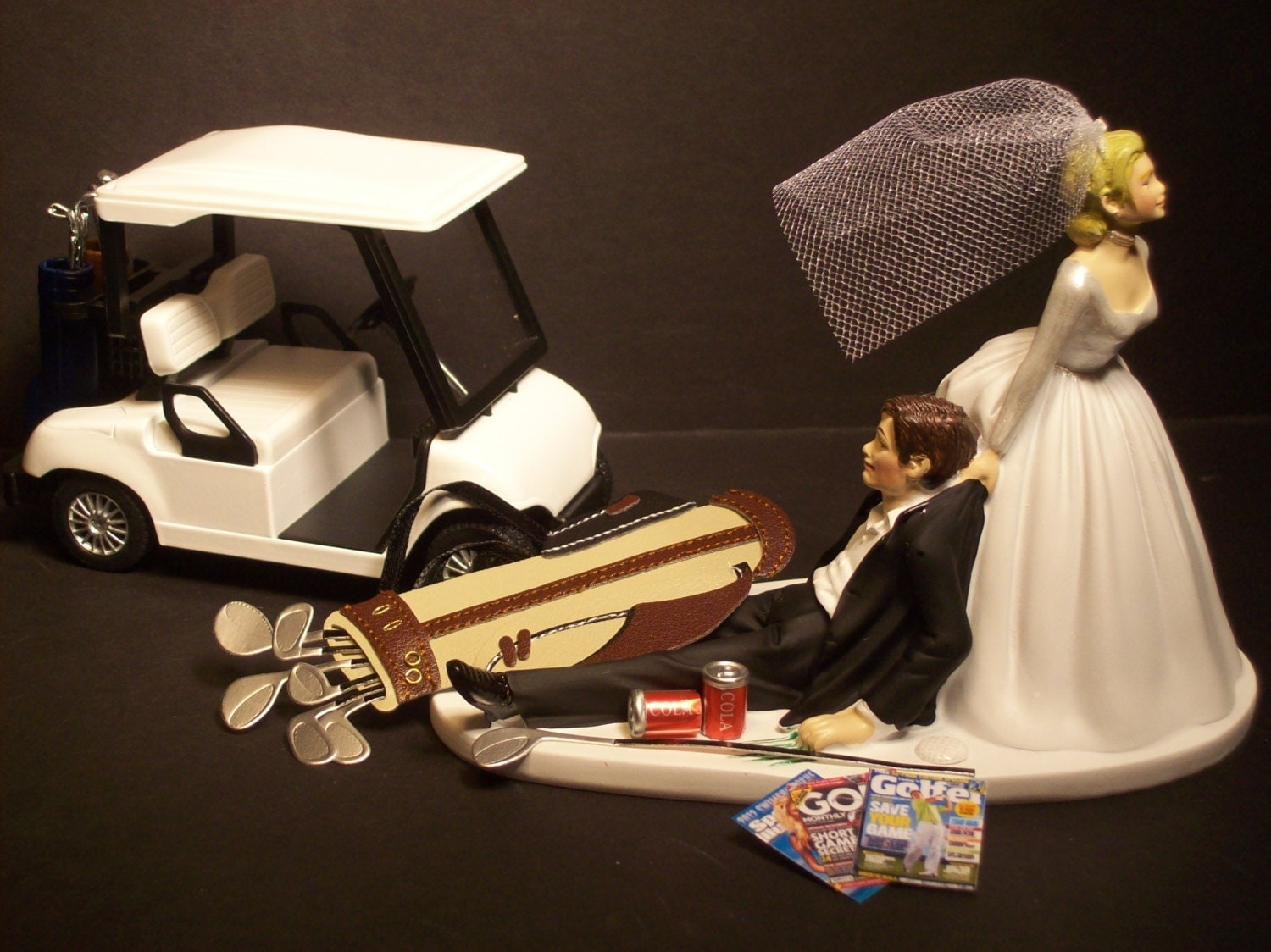 funny golf themed wedding cake toppers no golf with cart and groom wedding cake topper 14545