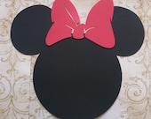 XLg. Minnie Mouse Head Shapes Red Bows Die Cut for crafts DIY Kids Crafts Birthday Party Banners Wall