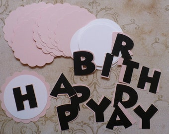 Scallop Circles Minnie Mouse Letters HAPPY BIRTHDAY Die Cuts crafts DIY Kids Crafts Birthday Party Banners Baby Girl