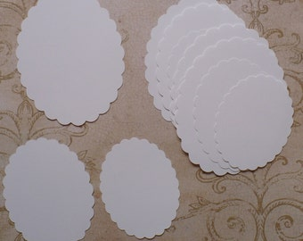 15 PC Scallop Oval Shapes 3 Sizes Die Cut pieces Made from White cardstock paper for Cards Weddings Labels Crafts