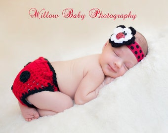 Baby Girl Hat - Gorgeous Baby Lady bug Headband and Diaper Cover with Flower and Lady bug Button