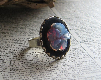 Vintage Black Poker Chip and Light Blue Flower Adjustable Silver Tone Ring