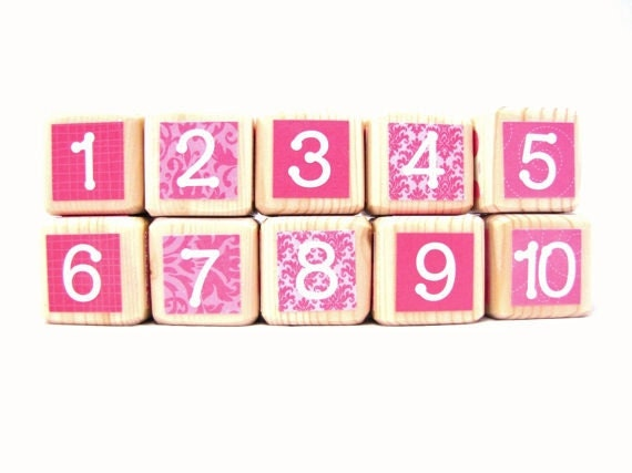 Wood Baby Blocks. Baby Shower Decoration for Girls. Wood toy. Pink nursery. Hot pink. Numbers. PERSONALIZED GIFT
