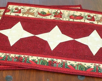Christmas Placemats, Quilted Santa Table Mats, Red Cream Place Mats, Set of 2 Placemats, Quiltsy Handmade