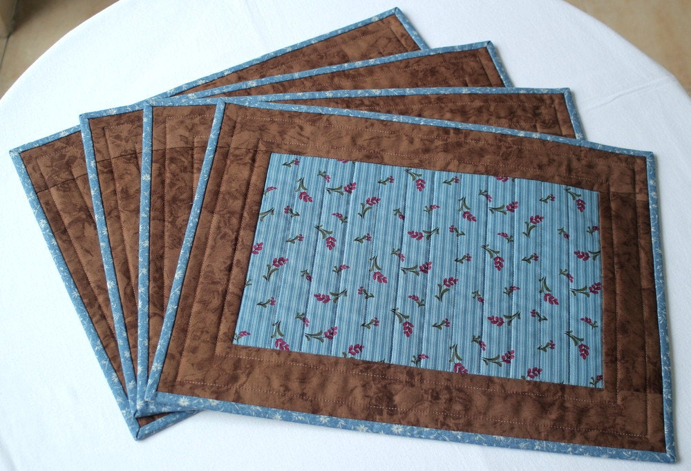 Quilted Placemats Blue Brown Table Mats Floral Place Mats : country quilted placemats - Adamdwight.com