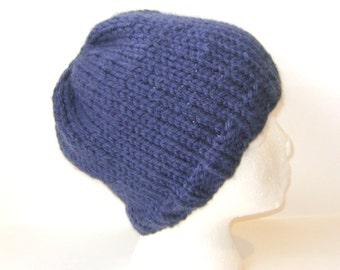 Knit Beanie Hat in Chunky Alpaca Blend, Soft and Warm Navy Blue