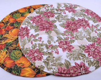 Table Runner, Round, for Thanksgiving and Christmas, Reversible, Quilted, 20 in. dia.