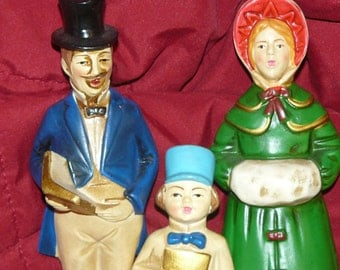 Vintage HOLIDAY Trio Christmas Carolers Paper Mache Figurines MINT Condition