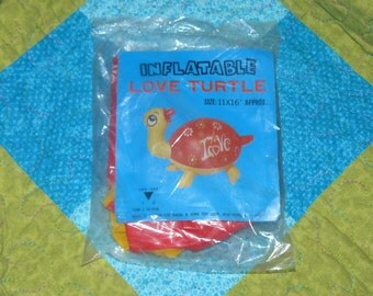 Vintage INFLATABLE BLOW UP Turtle  Mint in Package Love Mid Century Toy