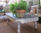 Zinc Top Vintage Oak Table