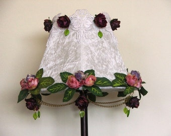 Royal victorian style-  White  Velvet  table lamp with venice Lace, vintage look roses , hand painted leaves,chains,green Czech glass leaves