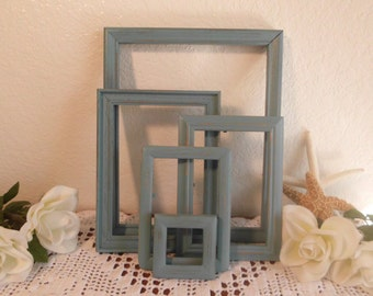 Shabby Chic Frame Set Blue Country Farmhouse Beach Cottage French Home Decor Gallery Collection Baby Boy Bedroom Seaside Coastal Spa