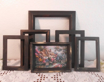 Rustic Black Embroidery Crewel Picture Frame Set Shabby Chic Up Cycled Vintage Wall Gallery Collection English Country Cottage Home Decor