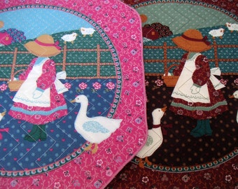 Vintage Placemats,Wall Hanging,Sunbonnet Sue. Quilted,Country,Farmhouse