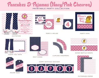 PANCAKES & PAJAMAS, CHEVRON Collection, Custom Printable Party Package- As Seen on Amy Atlas Events and Hostess with the Mostess