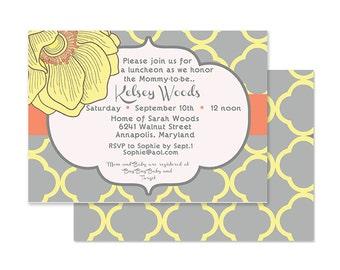 Modern Orange & Gray Blossom Bridal or Baby Shower invite-Custom printable