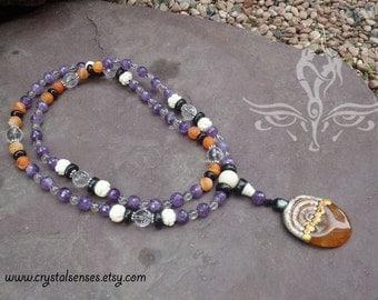 Transformation 108 Mala Gratitude Gemstone Necklace (108GRA0001)