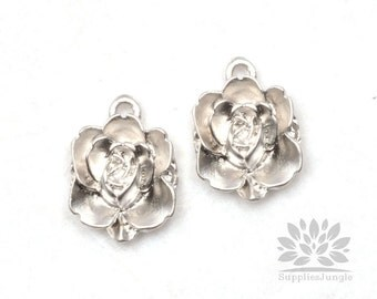 P504-MR// Matt Original Rhodium Plated Flower Pendant, 4 pcs