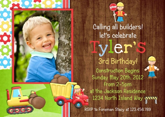 Rustic Dump Truck Construction Party Birthday Invitation
