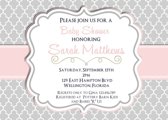Mod Trefoil Pink and Gray  Baby Shower Invitation Baptism or Christening Printable Invite