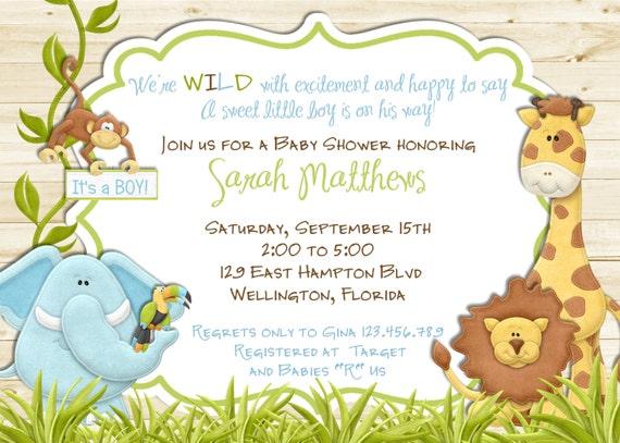 White Wood Rustic Jungle Baby Shower Invitation - Baby Boy Lion Giraffe Monkey Wood Invite