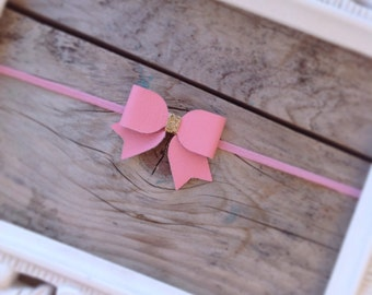 Cute Pink Leather Mini Baby Bow with Gold Glitter Center Newborn Photography Prop Baby Bows Baby Girl Headbands Toddler Headbands Pink Bows