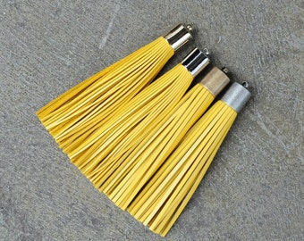 Yellow Leather (Cowhide) TASSEL in 13mm  Gold, Silver, Antique Brass or Antique Silver Plated Cap- Pick your tassel cap