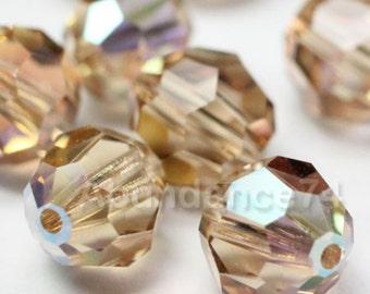 24 pieces Genuine Swarovski Elements - Swarovski Crystal Beads 5000 7mm Round Ball Beads - Lt Col Topaz AB