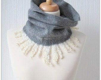 Firtree. Ash-grey soft Merino wool felted curly cowl