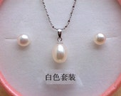 Free shipping -3 colors pink/white/purple pearl earring & pendant set