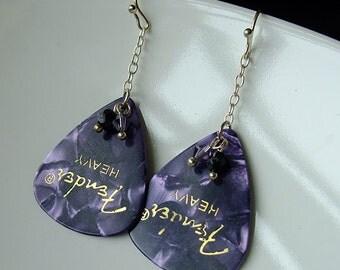 Earrings - Guitar Picks Purple Pearls - sale clearance