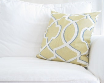 blue yellow couch pillow covers, blue yellow trellis pillows, 18 x 18 inch yellow pillows, 20 x 20 yellow pillows, yellow throw pillows