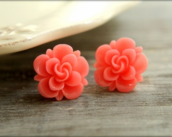 Twisted Rose Flower Earring Studs, Multiple Colors Available