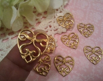 2pcs Pierced Heart Stamping Vintage Inspired Raw Brass Stamping Unplated Brass DIY Finish Collage Art Assemblage Jewelry Supplies