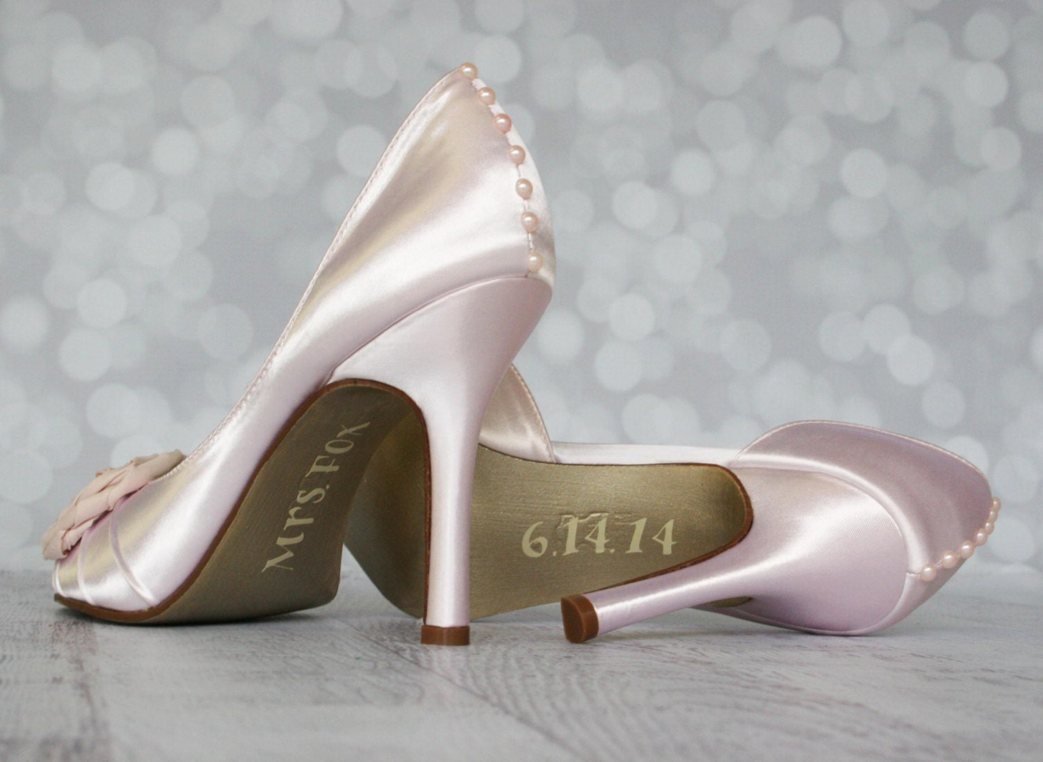wedding shoes blush pink peep toe custom by