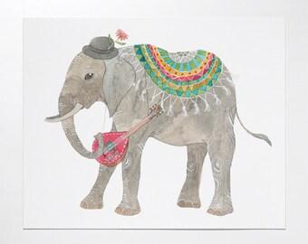 8x10 Elephant art print