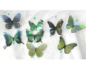 Sparkling green iridescent resin butterflies