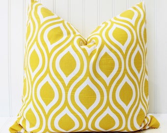 Yellow Pillow  - Throw Pillow - Decorative Pillow - Premier Prints Nicole Corn Yellow Slub Ikat Pillow