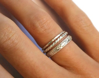 Sterling silver stacking rings, knuckle rings - midi rings, hammered, textured knuckle rings, silver rings