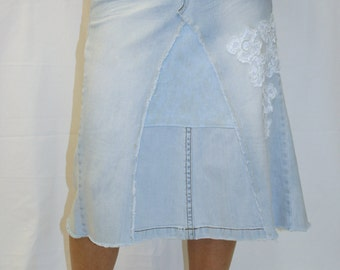 Denim and Lace Jean Skirt