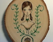 Woodland Fairy Tale Girl with Crest Original Painting