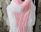 SALE OOAK Glistening Pink and White Hand Crocheted Ladies Winter Scarf, Pink October, ECS,