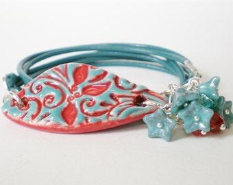 teal leather wrap bracelet, turquoise flower wrap bracelet, red blue bohemian bracelet, stacking bracelet, boho chic jewelry, gift for her