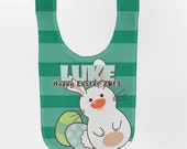 Easter Baby Bib - Personalized Easter Bunny, Boys First Easter Baby Bib