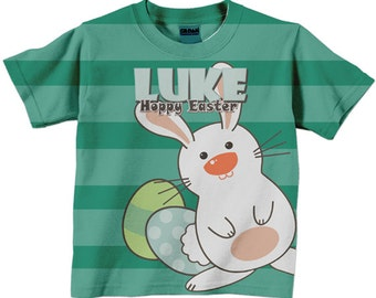 Easter Shirt, Personalized Easter Bunny Tshirt, Boy or Girl, Childrens Holiday Clothing