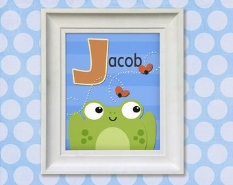 Childrens Art Print - Personalized Frog Prince 11x14 Baby Room Decor