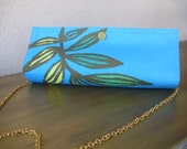Turquoise Clutch--Turquoise Tropical Placemat Bag