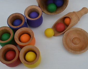Montessori Sorting Counting Matching Wooden Sensory Toy Balls and Cups 20 Pc. Deluxe Set