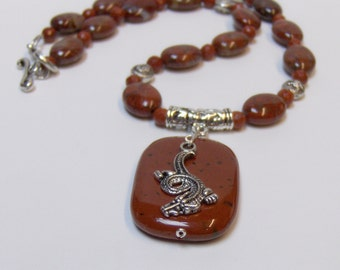 Red Ocean Jasper & Red Jasper Dragon Necklace // Gemstone Bead Jewelry